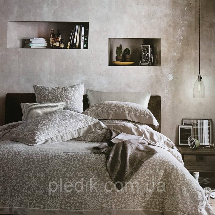 Двуспальное (евро) постельное белье 200х220 Лен жаккард Prestij Textile 29510