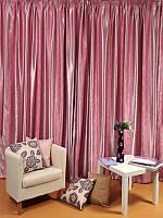 Комплект готових штор з тканини блекаут, рожева смуга