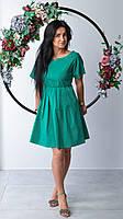 Короткое зеленое платье с вырезом горловины лодочка