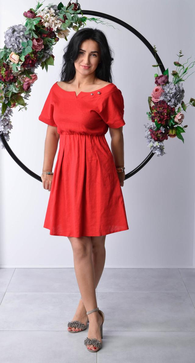 acfb88f00df Льняное красное платье молодежного фасона  продажа