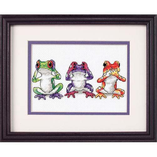 Набор для вышивания крестом Трио лягушек/Tree Frog Trio DIMENSIONS 16758