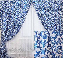 Комплект готових штор з тканини блекаут, блакитний завиток