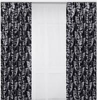 Комплект готових штор з тканини блекаут, чорно-сірий завиток