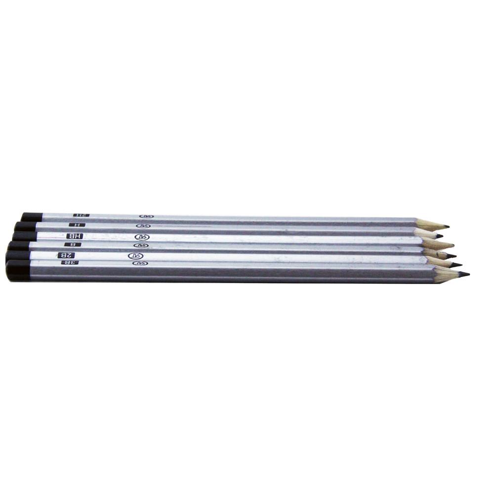Набор чернографических карандашей разной твердости 6 шт.