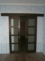 Розсувні міжкімнатні дерев'яні двері з ясеня, фото 1