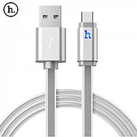 Кабель HOCO Type-C to USB Metal Knitted Cable UPT02 White