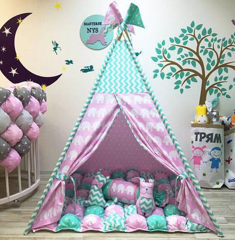 Вигвам розовый Слоны. Шалаш. Игровой домик. Детская палатка