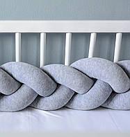 Бортик в кроватку Хатка Косичка Серый мини