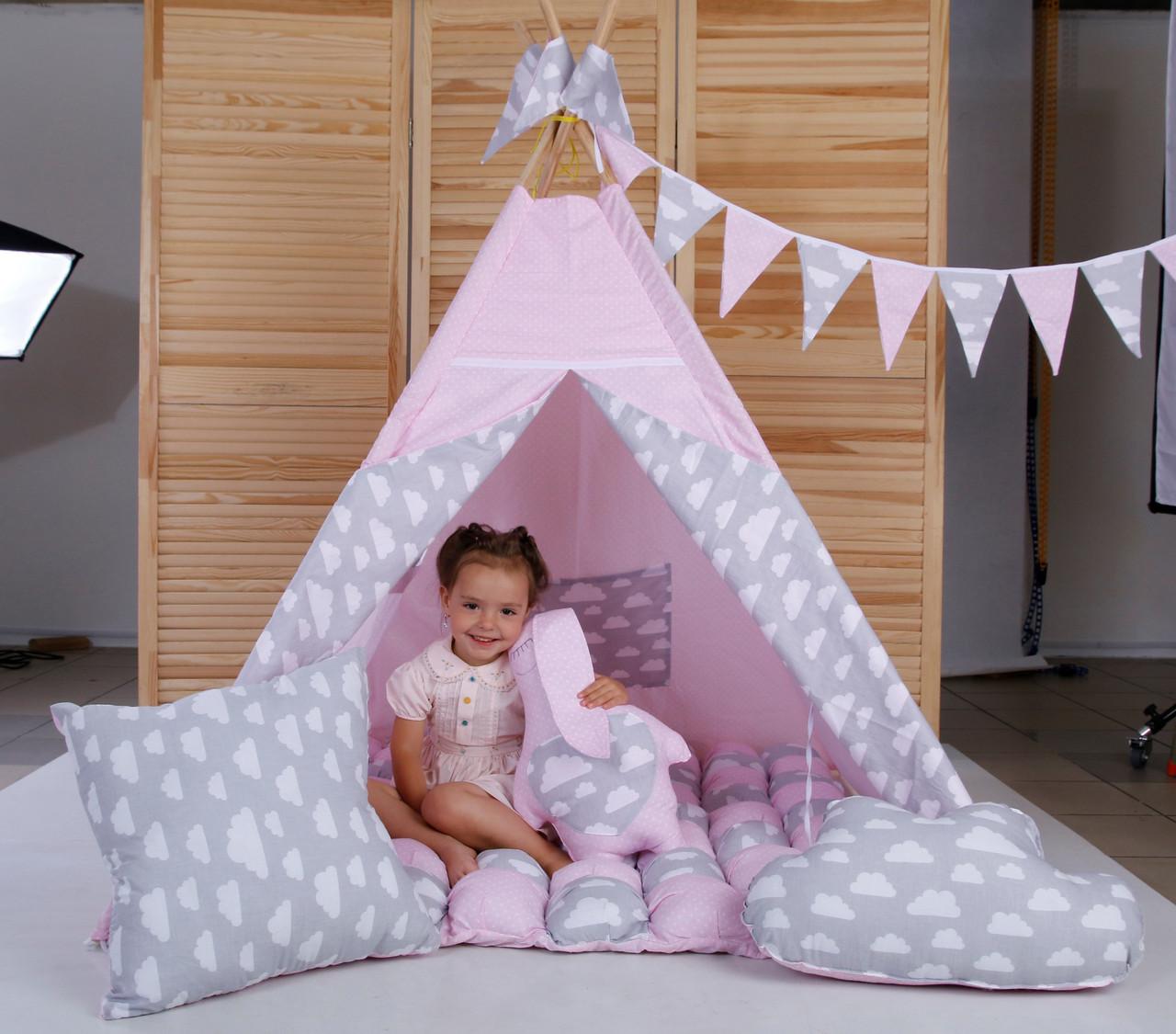 Вигвам Хатка комплект Бонбон Нежность Розовый с серым (облака) с подушками
