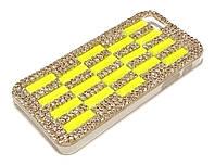 Чохол для iPhone 5 / 5s / SE пластиковий з камінням та стразами салатовий
