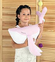 Подушка Хатка Кит Розовый с Белым