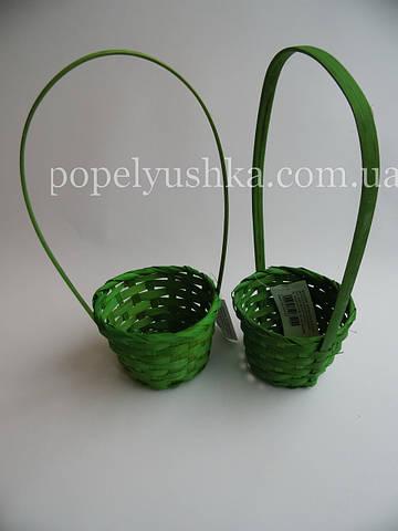 Корзинка плетена кругла зелена