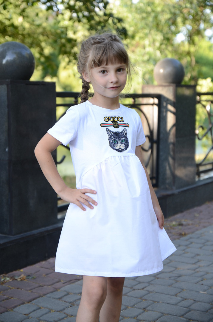 """Детское платье с декором """"CUCCI"""", в расцветках. МО-1-0618"""