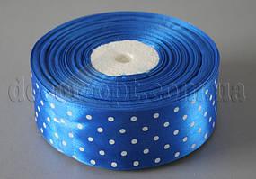 Лента атласная синяя с горохом 4 см 50 м