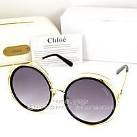 Женские солнцезащитные очки Chloe Carlina Круглые оправа металлическая под золото Хлое люкс реплика