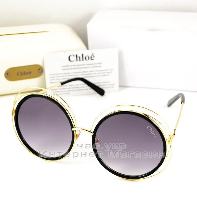 cfbef0431628 Женские солнцезащитные очки Chloe Carlina Круглые оправа металлическая под  золото Хлое люкс реплика