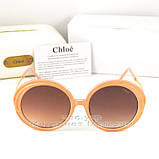 Солнцезащитные очки Chloe Круглые цветные коричневые современная эффектная модель Хлое качественная реплика, фото 4