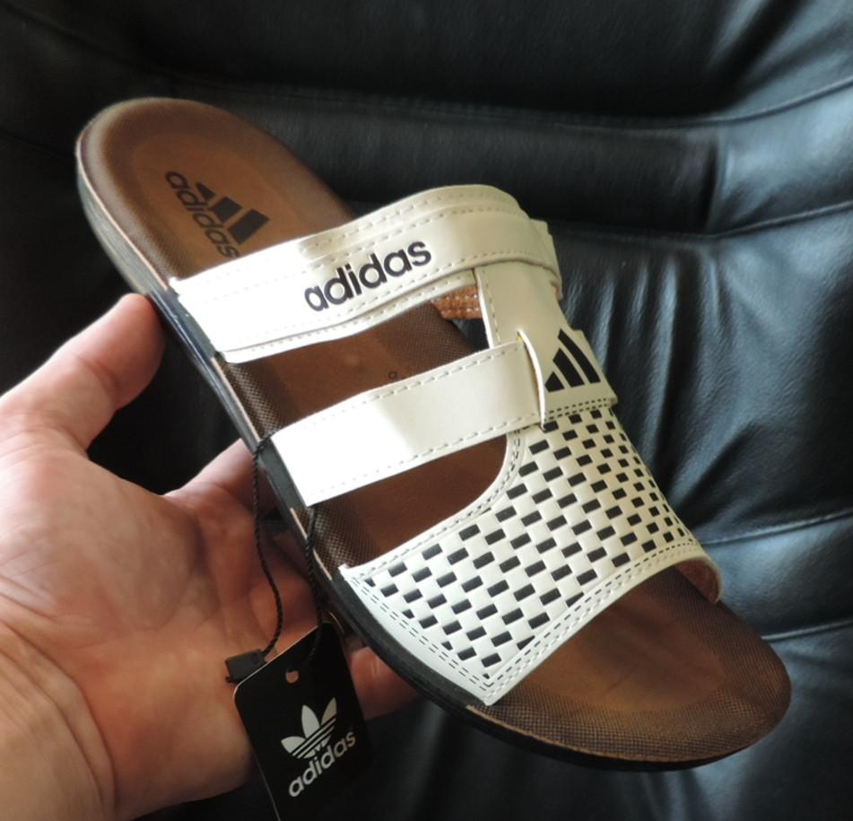 206f9be865c5 Мужские кожаные шлепки Адидас. Чоловічі шльопанці Adidas. Реплика ...