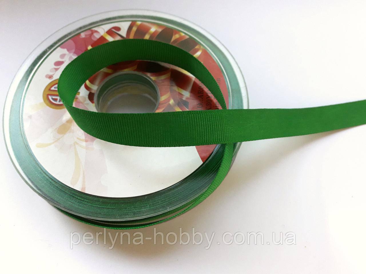 Стрічка репсова 13 мм ( 27 метри в рулоні) зелений