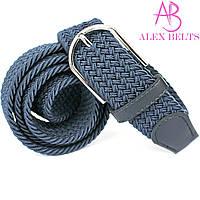 Ремень плетенка резинка на шпеньке (синий) 35 мм - купить оптом в Одессе