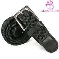 Ремень плетенка резинка на шпеньке батал (черный) 35 мм
