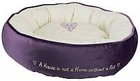 """Лежак """"Pet's Home"""" d50см пурпурный/кремовый с сердечком"""