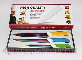 Ножі кухонні подарунковий набір. Набір металокерамічних ножів 3в1. Кухонні ножі 3 в 1