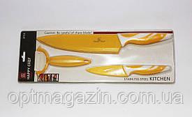 Ножі кухонні набір. Набір металокерамічних ножів. Ножі 3 в 1 набір