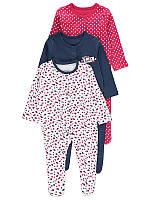 Человечки для девочки George «Яркие сердечки» с антицарапками, набор 3 шт, размер 56 см