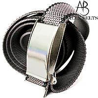 Ремень джинсовый резинка пряжка зажим (серая с черным буртом) 40 мм - купить оптом в Одессе