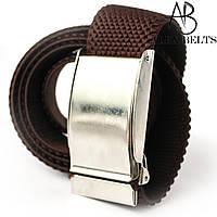 Ремень джинсовый резинка пряжка зажим (тёмно-коричневая) 40 мм - купить оптом в Одессе