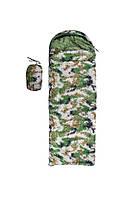Спальник 250гр/м2, камуфляж зеленый, одеяло, (180+30)*75см
