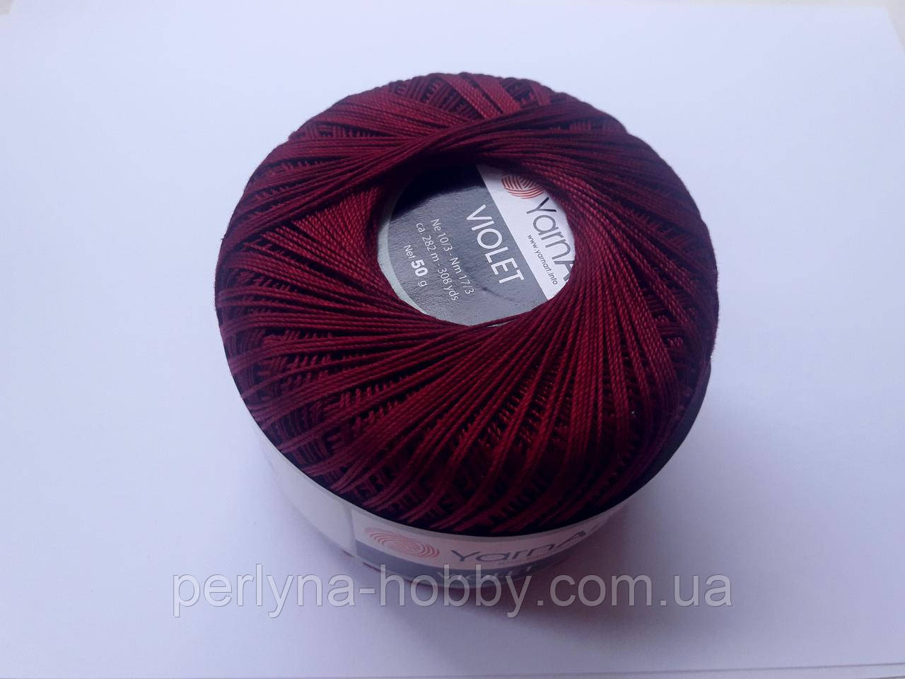 Пряжа нитки для вязания хлопковые  Виолет Ярнарт Violet YarnArt 100% бавовна бордовий №112