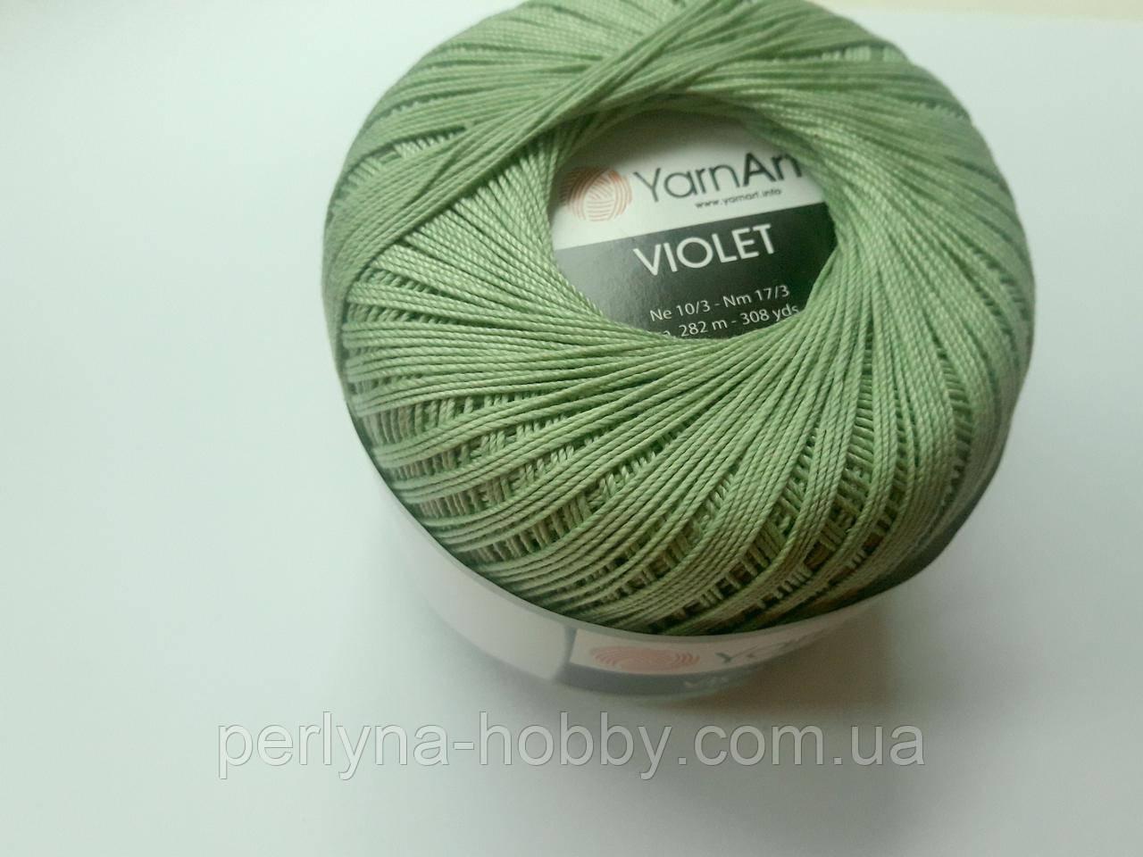 Пряжа Violet YarnArt 100% бавовна зелений пастельний № 6369