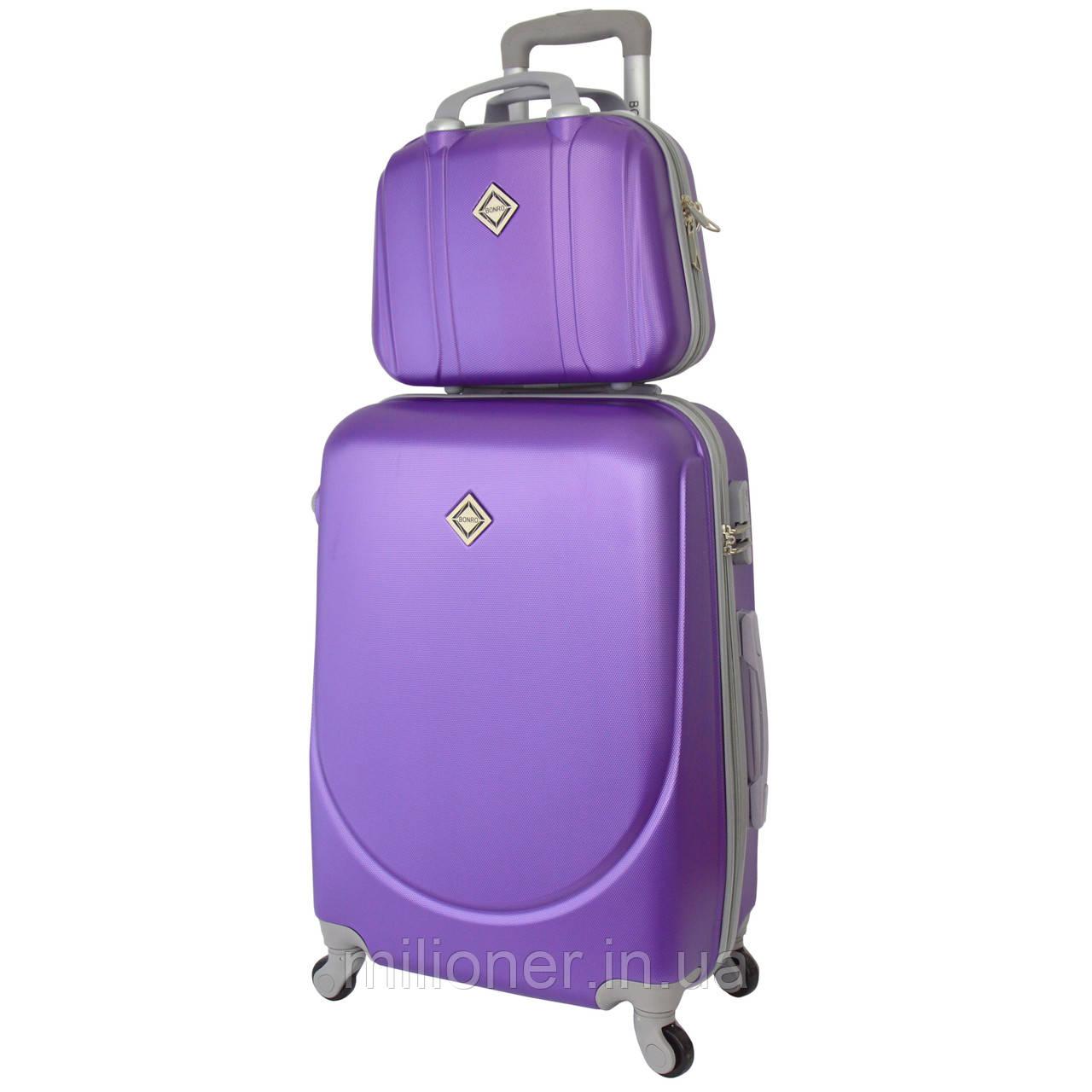 ef80a41bb64b Комплект чемодан + кейс Bonro Smile (большой) фиолетовый - milioner.in.ua