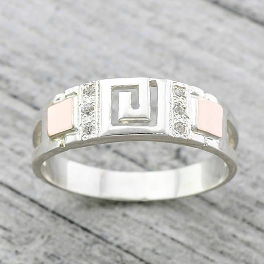 """Серебряное кольцо с золотыми пластинами """"Цезарь"""", вставка белые фианиты, вес 2.72 г, размер 19"""
