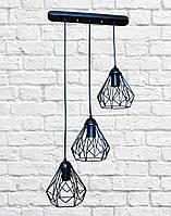"""Тройной светильник подвес в индустриальном стиле клетка """"груша"""""""