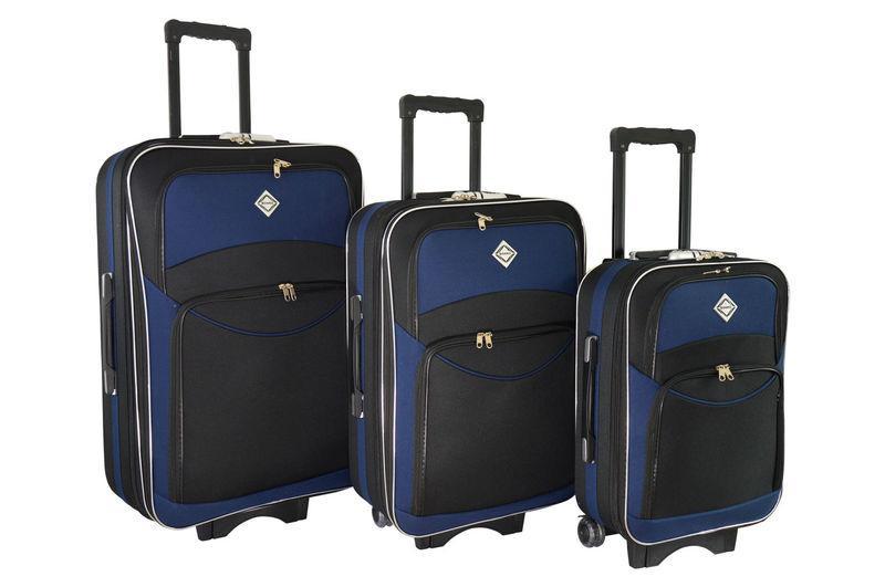 Чемодан сумка дорожный  Bonro Style набор 3 штуки черно-т. синий