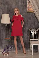 """Красивое платье с воланом на плечах """"Глория"""" Красный, 48"""