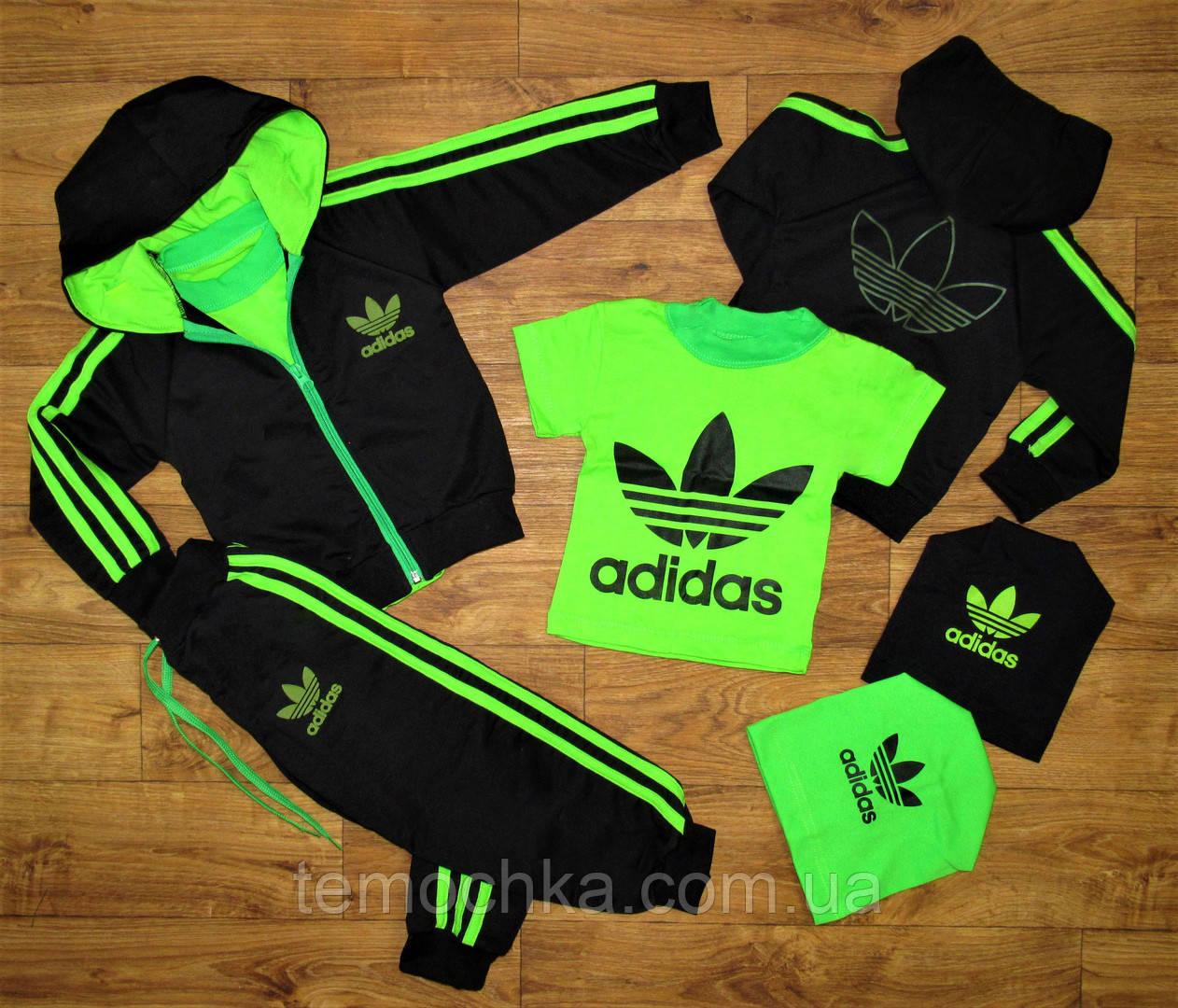 Спортивный салатовый костюм тройка Adidas