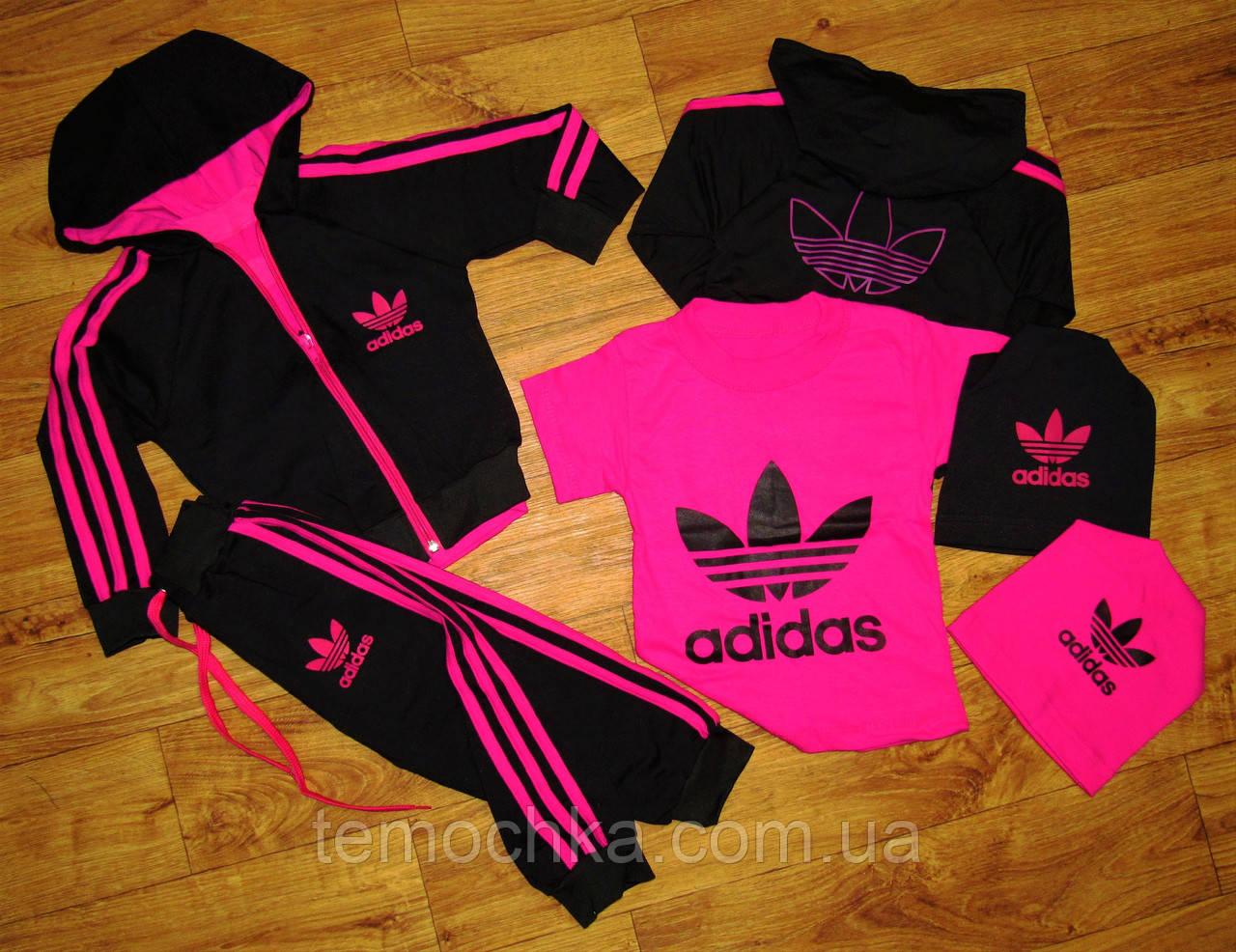 Малиновый спортивный костюм тройка Adidas