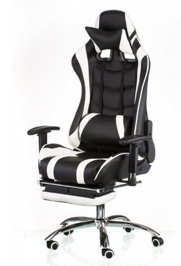 Комп'ютерне ігрове крісло Special4You ExtremeRace black/white footrest