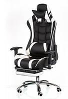 Компьютерное игровое кресло Special4You ExtremeRace  black/white footrest, фото 1