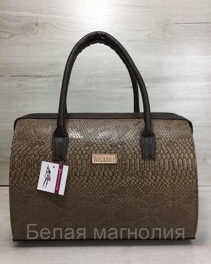Каркасная женская сумка Саквояж коричневая рептилия с коричневыми ручками -  Белая магнолия в Житомире 1480419e9d5