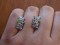 Срібні дизайнерські сережки з Кр. Сваровські в стилі Сartie(Картьє), фото 1