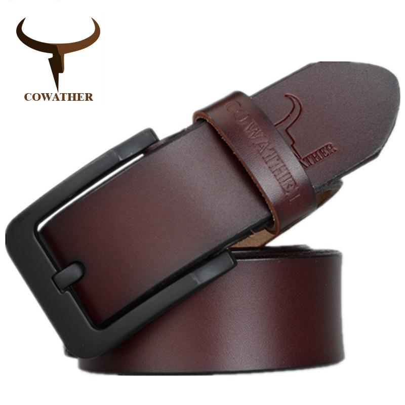 Ремень мужской кожаный классический COWATHER модель E (коричневый)