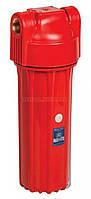 """10"""" Красный магистральный корпус фильтра Aquafilter для горячей воды FHHOTx-HPR-S резьба латунь, с клапаном (резьба 3/4"""")"""