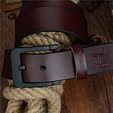Ремень мужской кожаный классический COWATHER модель E (коричневый), фото 2