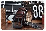 Ремень мужской кожаный классический COWATHER модель E (коричневый), фото 4
