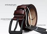 Ремень мужской кожаный классический COWATHER модель E (коричневый), фото 5